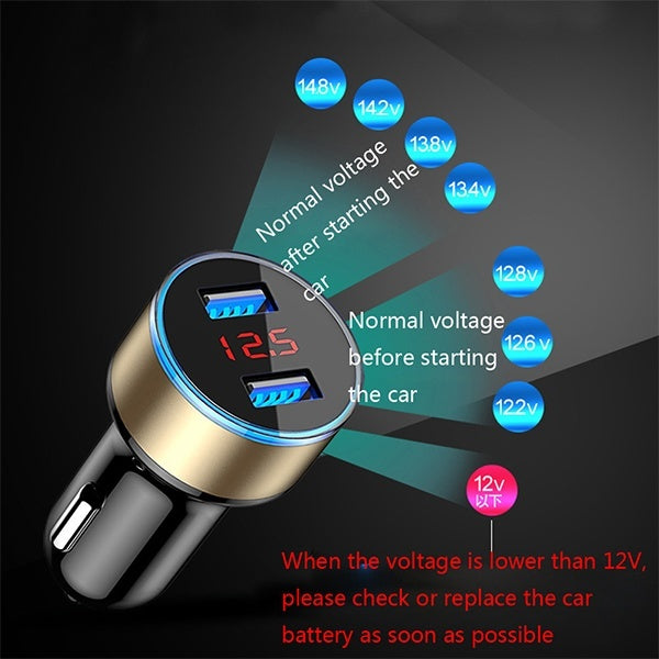 2 Port 3.1A Dual USB Car Charger with LED Display Fast Charger