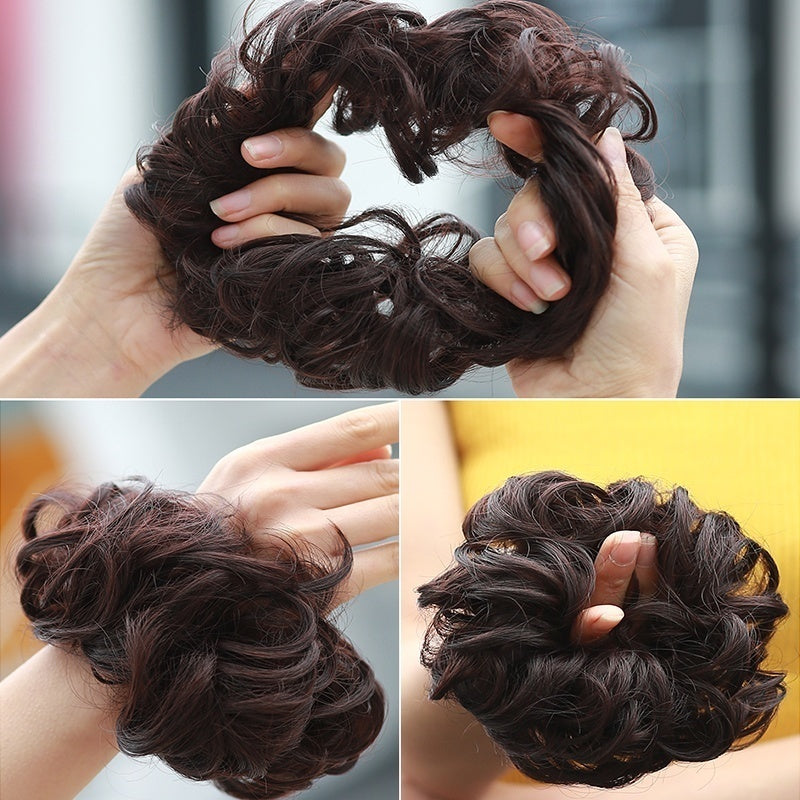 Hot Sale Ladies Pony Tail Hair Extension 6 Colors Bun Hairpiece Scrunchie Elastic Wave Curly Synthetic Hair Wig Scrunchie Wrap for Hair Bun Chignon Hairpieces