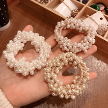 Load image into Gallery viewer, Fashion Hair Accessories Solid Color Hair circle Pearl Beads Rubber Headbands Women Ponytail Holder Elastic Hair Bands