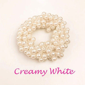 Fashion Hair Accessories Solid Color Hair circle Pearl Beads Rubber Headbands Women Ponytail Holder Elastic Hair Bands