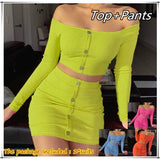 Women Two Piece Sets Buttons Long Sleeve Crop Top Mini Skirt Sexy Club Neon Green Conjuntos Suits Two Piece Party Outfits