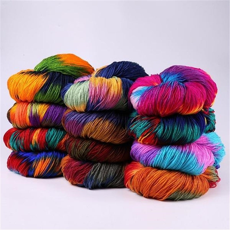 Multi-colored Soft Knitting Yarn DIY Hand-knitted Knitting Yarn Thick Hand Knitted Carded Threads Yarn for Kids Baby Sweaters Scarf