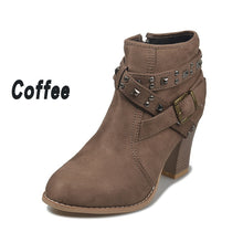 Load image into Gallery viewer, Plus Size Women's Ankle Boots Lady Casual Chunky Heel Short Boots Side Zipper Chunky Heel Pointed Shoes Leather Boots