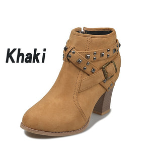 Plus Size Women's Ankle Boots Lady Casual Chunky Heel Short Boots Side Zipper Chunky Heel Pointed Shoes Leather Boots