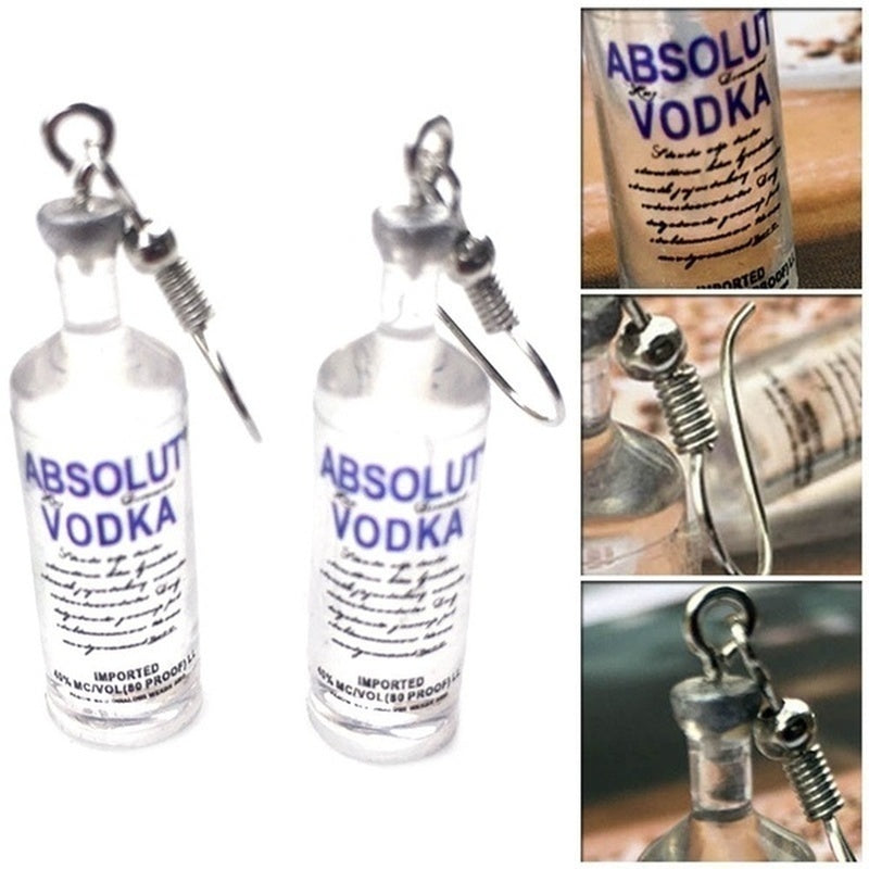 Creative Cool Vodka Bottle Drop Earrings Funny Drinking Style Cartoon Transparent Bottle Dangle Earrings for Women