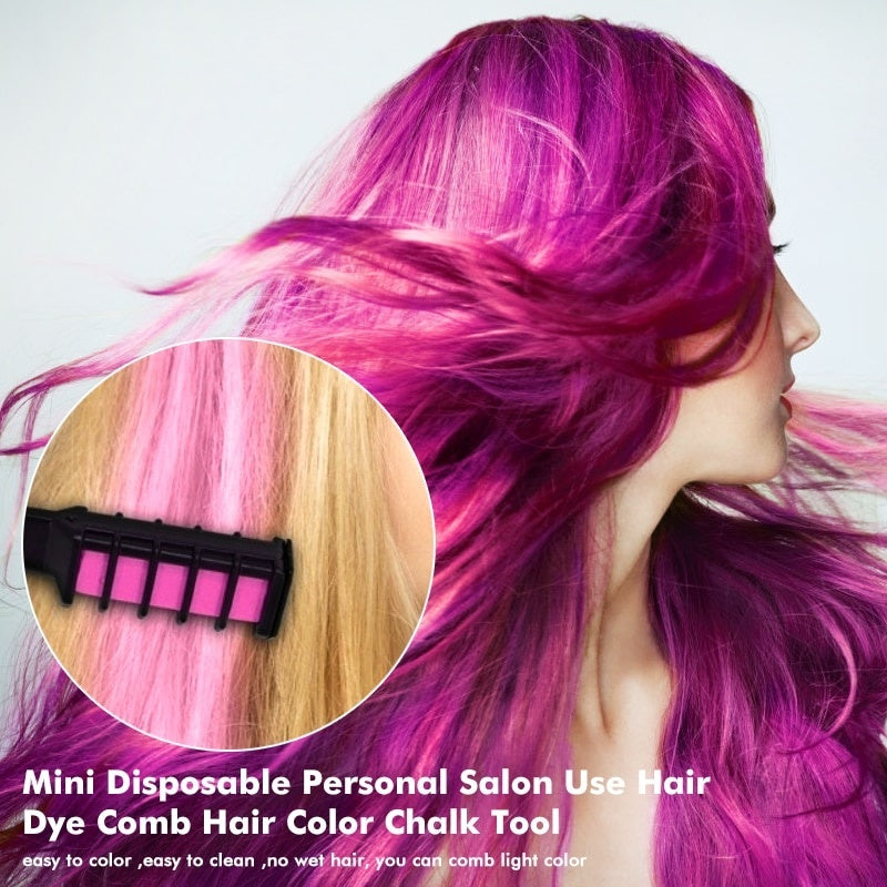1PC New Mini Hair Chalk Comb Temporary Hair Chalk Cosplay Colorful Hair Color Chalk Comb for Party Cosplay(6 Colors)