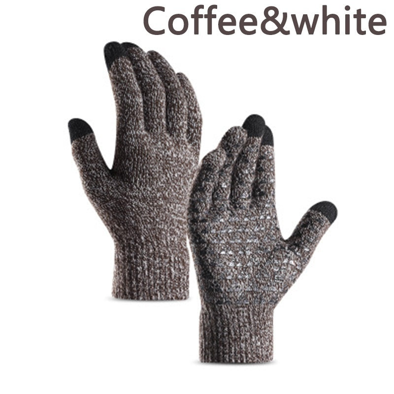 Autumn Winter Womens Mens Wool Cashmere Knit Gloves Touch Screen Thick Warm Gloves