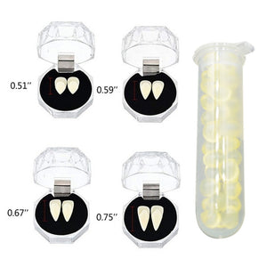 2pcs Halloween Party Cosplay Horrific Vampire Teeth With Glue  Horror False Teeth Vampire Zombie Devil Fangs Teeth
