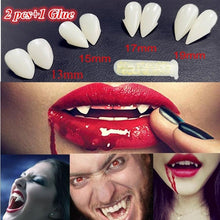 Load image into Gallery viewer, 2pcs Halloween Party Cosplay Horrific Vampire Teeth With Glue  Horror False Teeth Vampire Zombie Devil Fangs Teeth