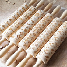 Load image into Gallery viewer, Christmas Embossing Rolling Pin Baking Cookies Fondant Cake Dough Engraved Roller Reindeer Snowflake Creative Rolling Pin