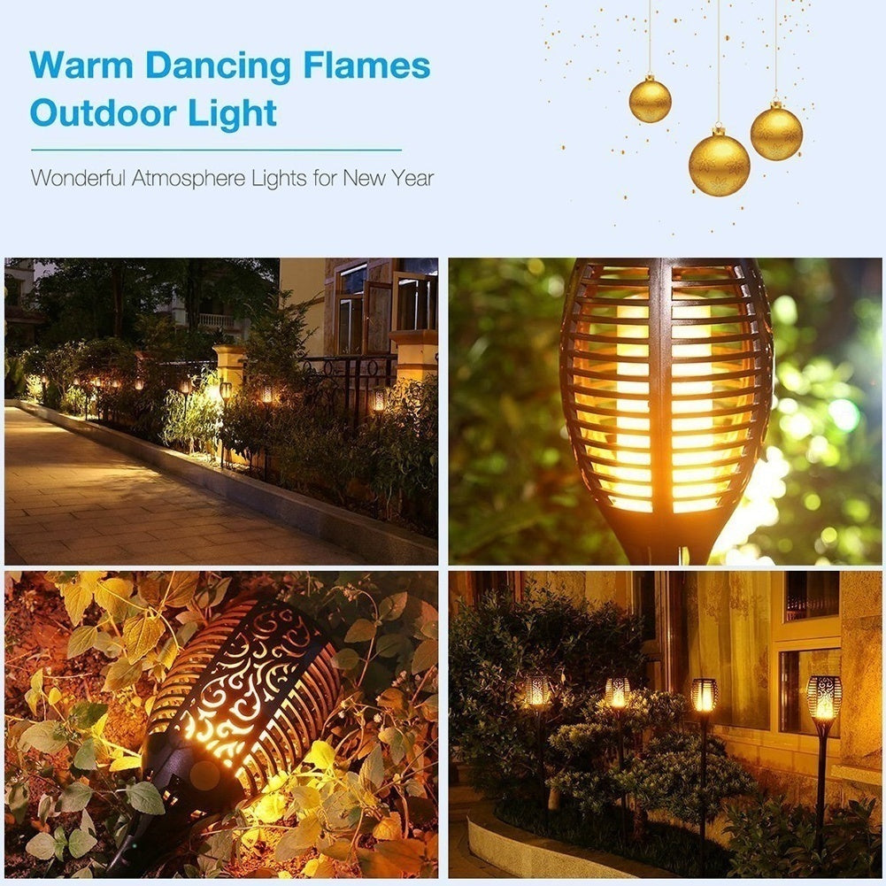 96 LED Waterproof Flickering Flame Solar Path Torch Light Outdoor Solar Path Torch Light Dancing Flame Solar Landscape Decoration Lighting Garden Lamp for Garden Yard Patio Lawn Pathways Night Lights