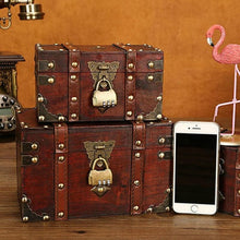 Load image into Gallery viewer, Retro Treasure Chest With Lock, Vintage Wooden Storage Box, Antique Style Gift Jewelry Organizer For Wardrobe Home Office Decoration