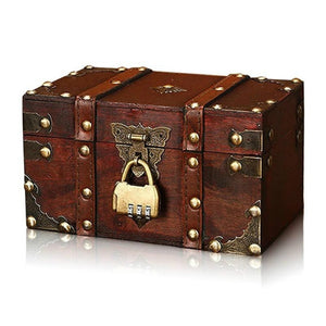 Retro Treasure Chest With Lock, Vintage Wooden Storage Box, Antique Style Gift Jewelry Organizer For Wardrobe Home Office Decoration