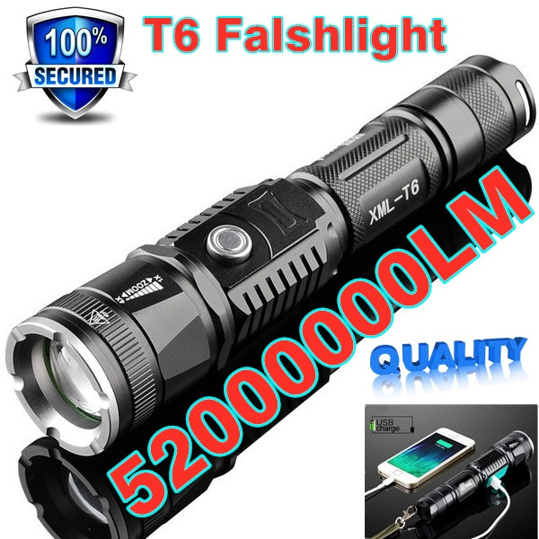 Super Bright CREE XM-L T6 LED Flashlight Waterproof  Long-range  Rechargeable LED Light Riding Hunting Torch Tactical Flashlight