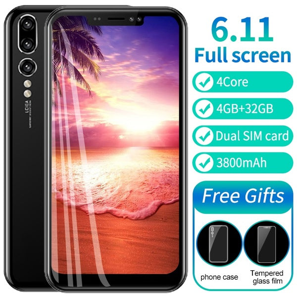 Smartphone P20 Pro 6.11''Full Screen 4GB RAM 32GB ROM Android 7.0 MTK6580A Quad Core 3800mAh Fingerprint unlock Face unlock mobilephone