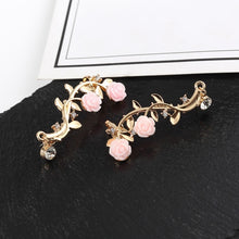 Load image into Gallery viewer, 1 Pair Retro Rose Branch Ear Clip Women's Individual Anti Allergy Ear Cuff Stud Earring Wrap