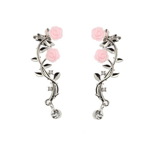 1 Pair Retro Rose Branch Ear Clip Women's Individual Anti Allergy Ear Cuff Stud Earring Wrap