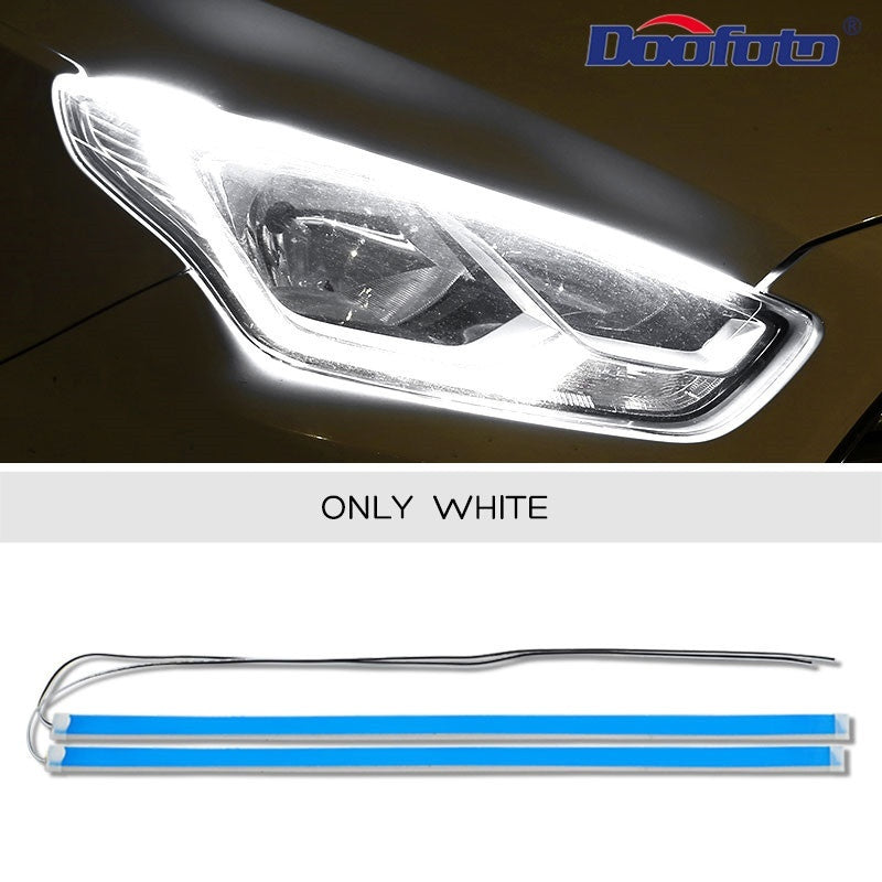 Doofoto 2Pcs/Set Auto Interior Design Accessories Car LED Strip Turn Signal Lamp DRL Daytime Running Light (30cm 45cm 60cm)