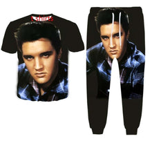 Load image into Gallery viewer, New Fashion Women/Mens Elvis Presley Funny 3d Print T-Shirt + Jogger Pants Casusal Tracksuit Sets