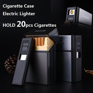 2019 NEW Cigarette Case Box Lighter with Flameless Removable Electronic Lighter Windproof Torch Lighter(Standard and Upgrade)