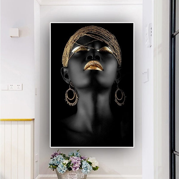 Canvas Prints Modern Black Woman Model Painting Oil Painting on Canvas Wall Art Picture for Living Room(No Frame)