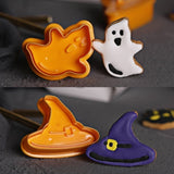4 Pcs Halloween Theme Plunger Biscuit Mold Cutter Plastic Cookie Cutter Biscuit Stamp Mould Fondant Tool Pastry Tools