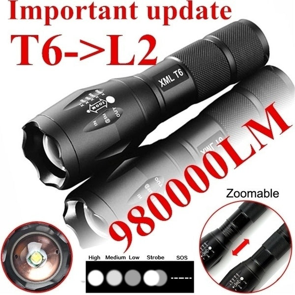 Important Update CREE T6 Tactical Military LED Flashlight Torch 980000LM Zoomable 5-Mode for 18650(Without Battery)