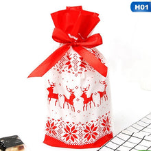 Load image into Gallery viewer, 20/10Pcs 23X15Cm Red Green Elk Snowflake Santa Claus Gift Bags Merry Chrtistmas Candy Food Bags With Ribbon For Christmas Decoration Supplies