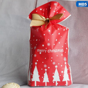 20/10Pcs 23X15Cm Red Green Elk Snowflake Santa Claus Gift Bags Merry Chrtistmas Candy Food Bags With Ribbon For Christmas Decoration Supplies