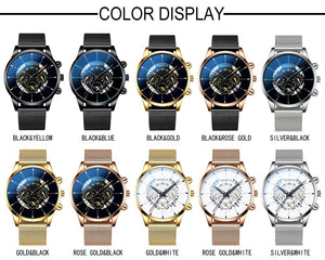 Fashion Mens Watches Male Clocks Luxury Quartz Watch Man Casual Slim Mesh Steel Business Black Wrist Watch Simple Sports Watches Relogio Masculino