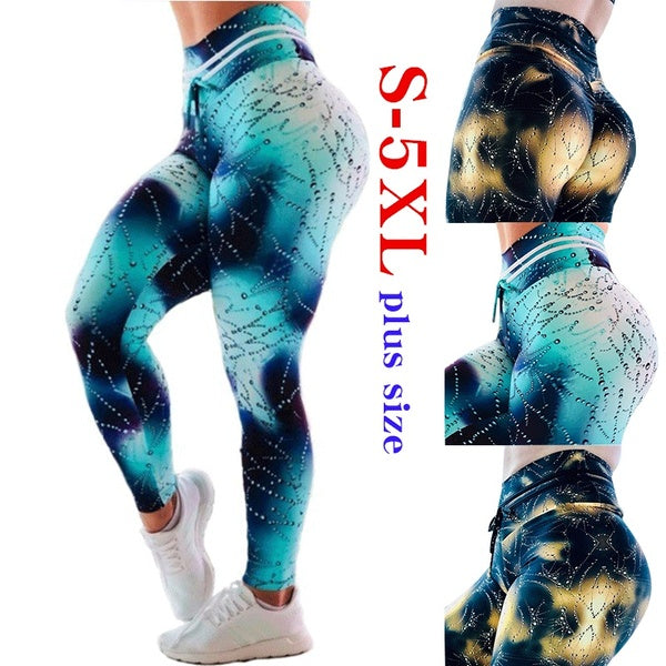 Women's Water Drop Print Yoga Pants Ladies Casual Sport Pants Running Trousers Plus Size S-5XL