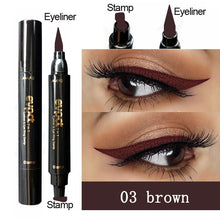 Load image into Gallery viewer, 2 in1 Eyeliner & Stamp Double Head Waterproof Stamp Eyeliner Pen Brand evpct Charming Cat Eye Winged Eyeliner Sexy Eye Cosmetic Seal Stamp Wing Tool Eye Makeup 7 Colors Black Brown Purple Blue Red Pink Green