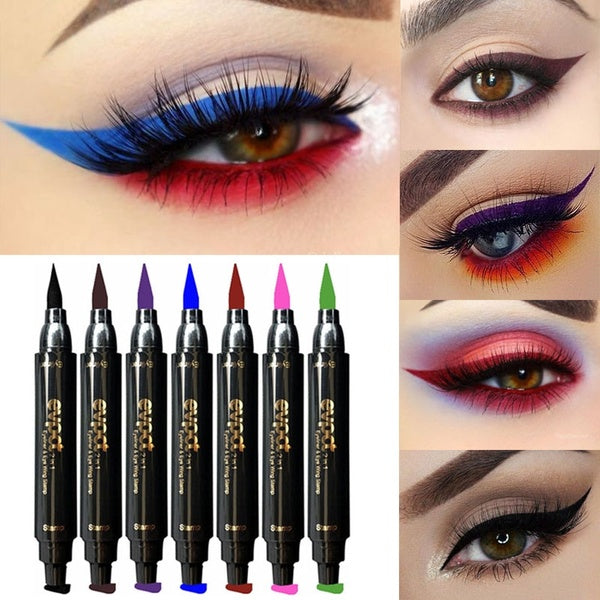2 in1 Eyeliner & Stamp Double Head Waterproof Stamp Eyeliner Pen Brand evpct Charming Cat Eye Winged Eyeliner Sexy Eye Cosmetic Seal Stamp Wing Tool Eye Makeup 7 Colors Black Brown Purple Blue Red Pink Green