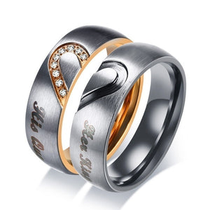 Her King His Queen Couple Wedding Band Ring Stainless Steel Cubic Zirconia Stone Anniversary Engagement Promise Ring for Women Men