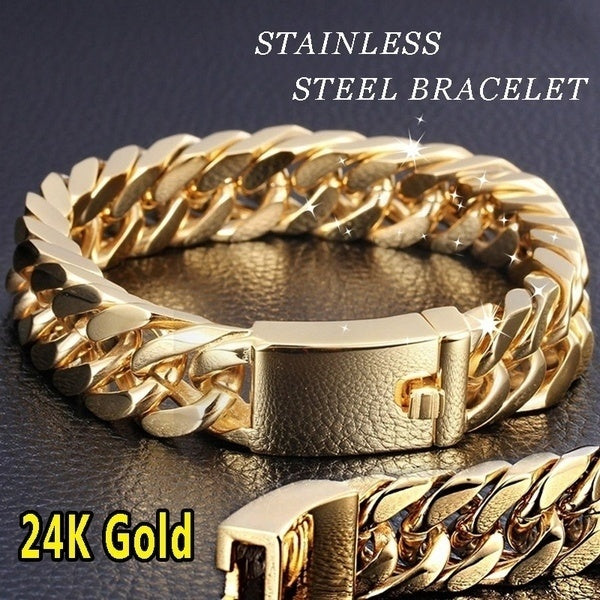 24K Gold Plated Stainless Steel Curb Chain Bracelet for Men Women Fashion Jewelry Heavy Style