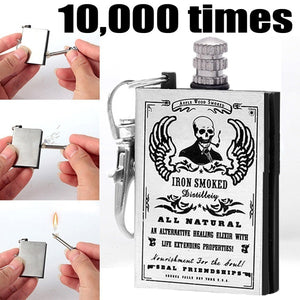 Wilderness Survival 10000 Times Match Box Outdoor Emergency Fire Starter Camping  Hiking Survival Lighter Iron Smoked Wood Smoked Lighter