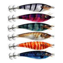 Load image into Gallery viewer, 6pcs/lot Shrimp Bait Squid Jig 10CM 12G Artificial Wood Shrimps Lures Fishing Squid Hook Cuttlefish Lures Octopus Bait