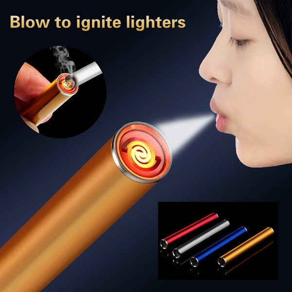 Electric Lighter USB Charging Lighter Intelligent Blow To Ignite Cigarette Smoking Lighters