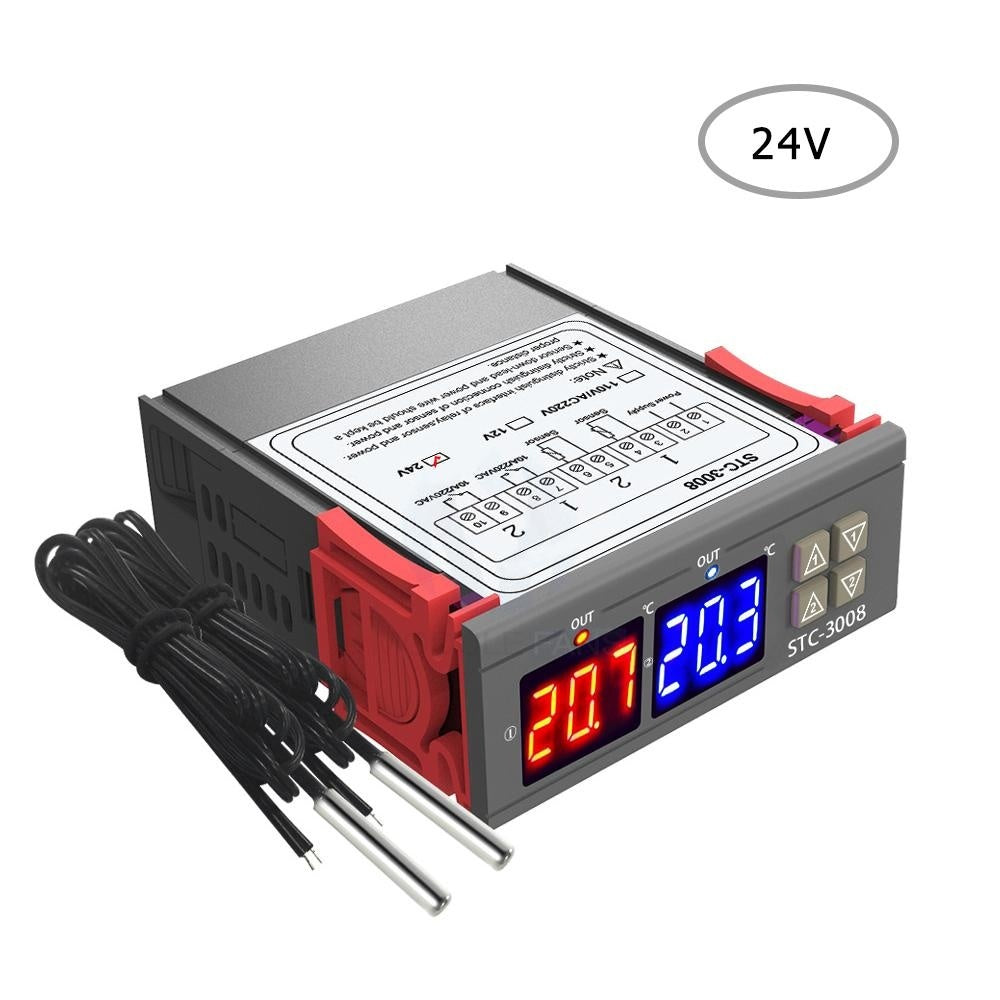 Dual Digital Display Thermostat Temperature Regulator Temperature Controller with Double NTC Probe Heater Sensor Probe Two Relay Output 12V/24V/110-220V