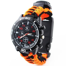 Load image into Gallery viewer, Hot 6 IN 1 Multifunction Watch Survival Bracelet Survival Wristband Camping Compass Flint Fire Starter Whistle Flat Knife Rescue Rope Paracord Bracelet First Aid Safety Watch Kit Survival Accessories