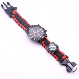 Hot 6 IN 1 Multifunction Watch Survival Bracelet Survival Wristband Camping Compass Flint Fire Starter Whistle Flat Knife Rescue Rope Paracord Bracelet First Aid Safety Watch Kit Survival Accessories