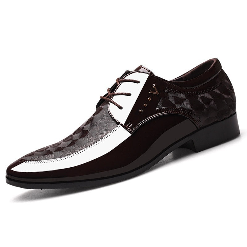 Men's Business Patent Leather Shoes Formal Pointed Toe Shoes Casual Dress Shoes Plus Size