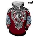 New Men Viking 3D Printed Pullover Hoodies