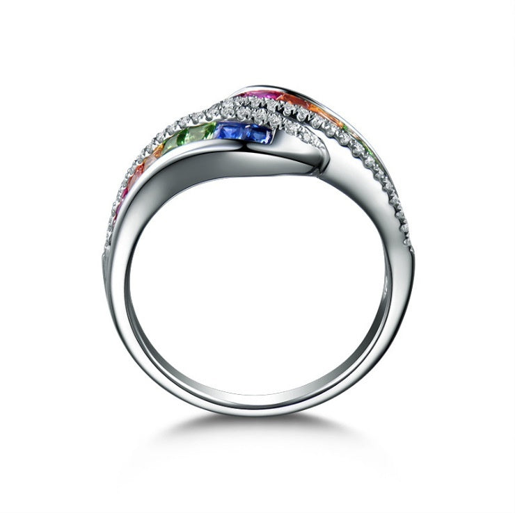 Latest Fashion Women Natural Rainbow Crystal Diamond Ring 925 Sterling Silver Birthstone Rings Charm Women Bride Engagement Wedding Jewelry Size 5-11