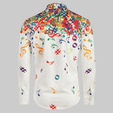 Men's Autumn Casual Novelty Musical Note Pattern Casual Long Sleeves Shirt Top Blouse