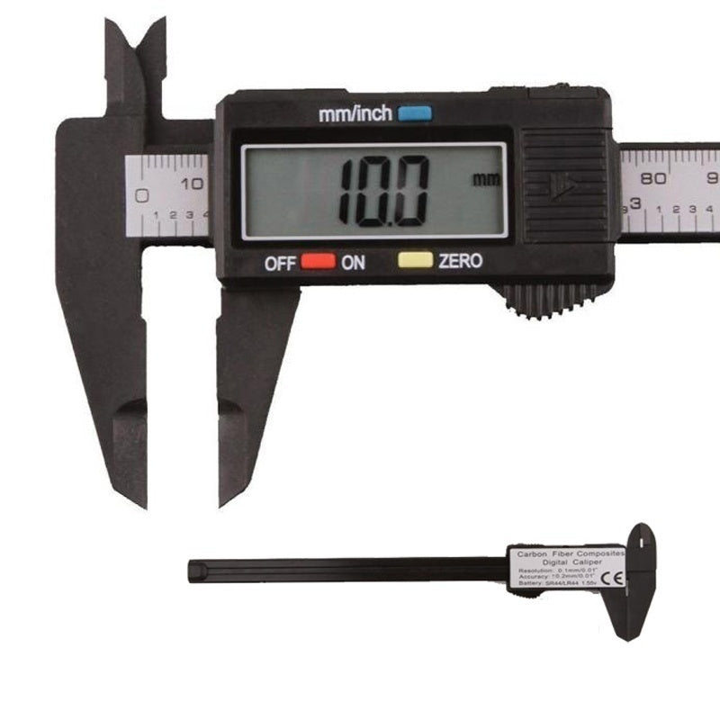 2019 Stylish 150mm/6 inch LCD Digital Electronic Carbon Fiber Vernier Caliper Gauge Micromete(color: black silver)