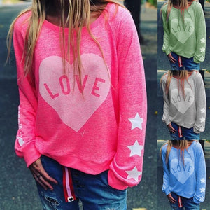 Autumn and Winter Fashion Womens Heart Printed Long Sleeve Sweatshirts Plus Size Casual T-shirts  Loose Cotton Pullover Tops Street Loose Tops Plus Size S-5XL