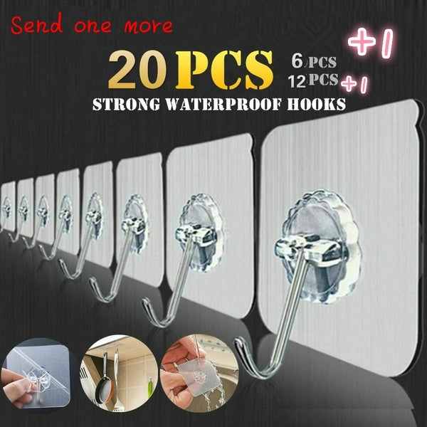 21/13/7 PCS Transparent Non Trace Strong Hook Wall Hooks Hanger For Kitchen Bathroom Home Decor Holders Racks