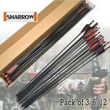 6/12pcs Recurve Bow Practice Archery Fiberglass Arrow for Compound Bow Sport Shooting Outdoor Sports Hunting Gear