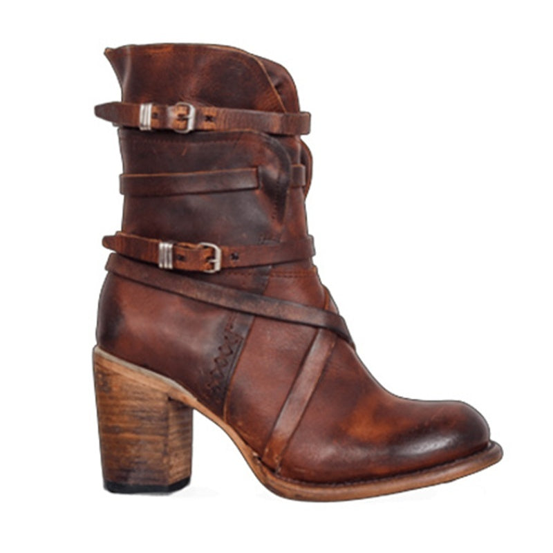 Women's Retro Tube Ankle Boots Round Toe PU Leather Side Zipper Adjustable Buckle Autumn and Winter Women Chunky Heel Motorcycle Boots Steampunk Distressed Shoes